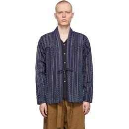 Naked And Famous Denim Blue Kasuri Sashiko Kimono Shirt 120506825