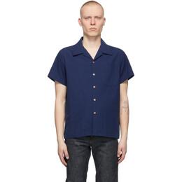 Naked And Famous Denim Blue Washed Chambray Short Sleeve Shirt 120120631