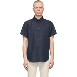 Naked And Famous Denim Navy Poplin Easy Short Sleeve Shirt 120503215