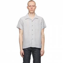 Naked And Famous Denim Blue Twill Easy Care Short Sleeve Shirt 120204531