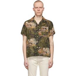 Naked And Famous Denim Green Skeleton Short Sleeve Shirt 120561031