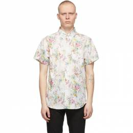 Naked And Famous Denim White Flower Painting Easy Short Sleeve Shirt 120526315
