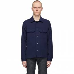 Naked And Famous Denim Navy Loose Weave Dobby Shirt 120135310