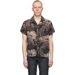 Naked And Famous Denim Grey Skeleton Short Sleeve Shirt 120530131