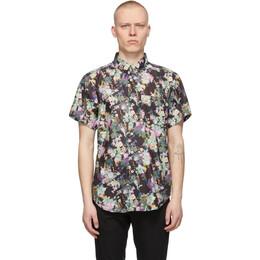 Naked And Famous Denim Black Flower Painting Easy Short Sleeve Shirt 120526515