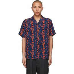 Wacko Maria Blue and Red Leopard Open Collar Short Sleeve Shirt 21SSE-WMS-HI07