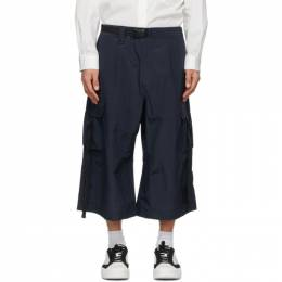 Y-3 Navy Seersucker Brace Sporty Trousers GV6073