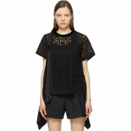 Sacai Black Star Embroidered Side Pleat T-Shirt 21-05465