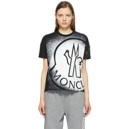 Moncler Black and White Spray Paint Logo T-Shirt G10938C7B310829FB