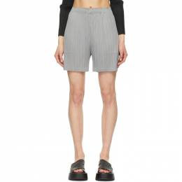 Pleats Please Issey Miyake Grey Monthly Colors June Shorts PP08JF125