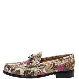 Salvatore Ferragamo Multicolor Floral Printed Leather Mason Gancio Bit Loafers Size 40.5 399061