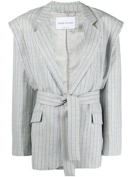 Hebe Studio полосатый пиджак с поясом H204L2BZLWO