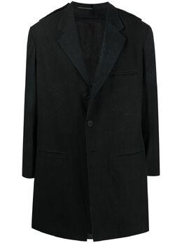 Yohji Yamamoto однобортное пальто с графичным принтом HDJ20013