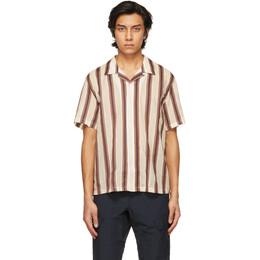 Rag&Bone Beige and Burgundy Striped Japanese Avery Shirt MBW21SA108M1ML