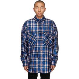 Faith Connexion Navy Check Tweed Oversized Shirt EXS21242