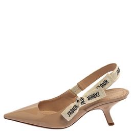 Dior Nude Beige Patent Leather J'Adior Slingback Pumps Size 37 399431