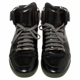 Dior Black Leather High Top Sneakers Size 44 399280