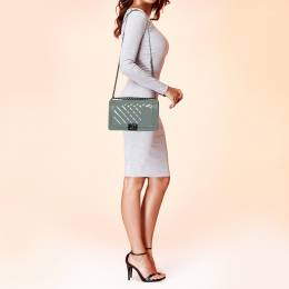 Chanel Grey Quilted Patent Leather New Medium Boy Flap Bag 398770