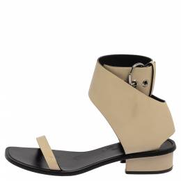 Celine Cream White Leather Ankle Strap Sandals 39.5 399325
