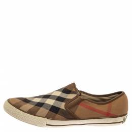Burberry Beige House Check Canvas Slip On Sneakers Size 43 399475