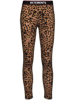 Vetements Logo Waistband Leopard Print Leggings WE51PA640L