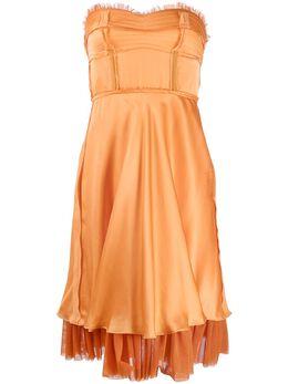 Moschino платье без бретелей с оборками A04080435
