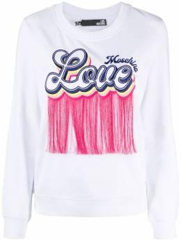 Love Moschino tasseled logo-patch sweatshirt W644401E2246
