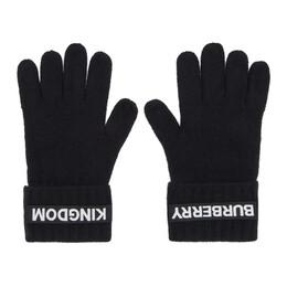 Burberry Black Cashmere Logo and Kingdom Gloves 8025726