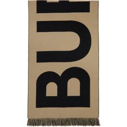 Burberry Beige Wool Jacquard Logo Scarf 8035525