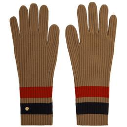 Burberry Tan Merino Monogram Gloves 8037093