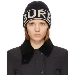 Burberry Black Cashmere Intarsia Logo Beanie 8023982