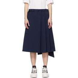 Y-3 Navy Refined Wool Stretch Skirt GV2781