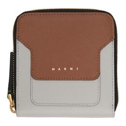 Marni Grey and Brown Zip-Around Wallet PFMOQ09U08 LV520