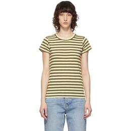 Rag&Bone Green Striped The Slub T-Shirt WCC21ST0236H23-GREENS