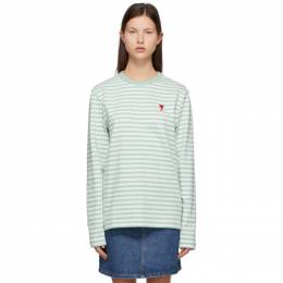 Ami Alexandre Mattiussi Green Ami de Coeur Mariniere Long Sleeve T-Shirt E21HJ106.72