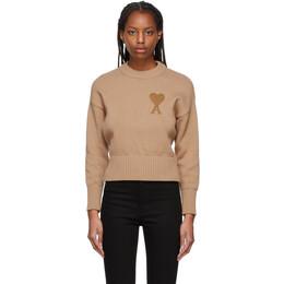 Ami Alexandre Mattiussi Beige Oversize Ami De Coeur Sweater E21FK009.016