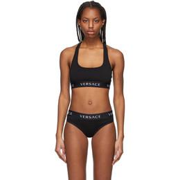 Versace Underwear Black Logo Sports Bra AUD04068_AC00058_A100