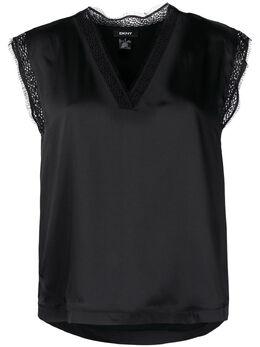 DKNY блузка с V-образным вырезом и кружевом P1AHZGXH