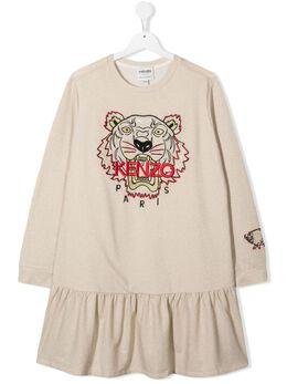 Kenzo Kids платье с длинными рукавами и вышитым логотипом K12023