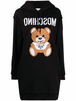 Moschino teddy-embroidered hoodie dress V04310427