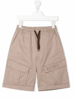 Fendi Kids FF-embroidered cargo shorts JMF335ADEH