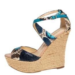 Alexandre Birman Multicolor Python Wedge Platform Ankle Strap Sandals Size 38 399290
