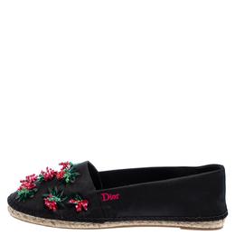 Dior Black Canvas Embellished Espadrille Flats Size 40.5 401717