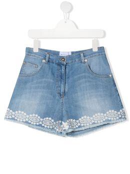 Ermanno Scervino Junior джинсовые шорты с вышивкой ESFBE008CE50WSUNI1