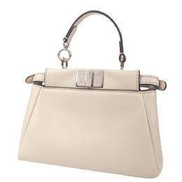 Fendi Beige Leather Embroidered Flower Mini Peekaboo Top Handle Bag 387296