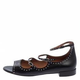Givenchy Black Leather Studded Ankle Strap Sandals Size 41 402076