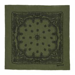 Margaret Howell Green and Black Linen Paisley Print Scarf UNAC0281S21ACGFNB