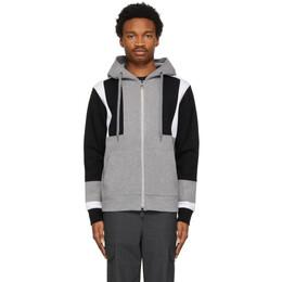 Neil Barrett Grey and Black Modernist Zip-Up Hoodie PBJS731-Q544S
