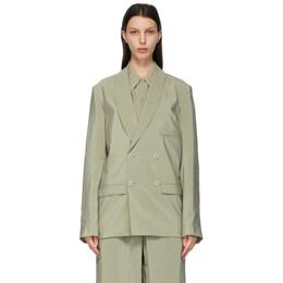 Lemaire Green Silk Belted DB Blazer X 211 JA146 LF208