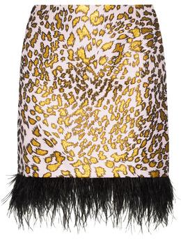 Halpern юбка мини с леопардовым принтом и перьями S21S01C